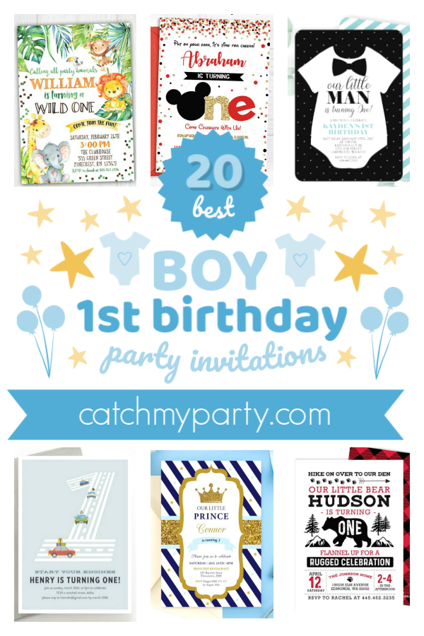 Collage of the best boy 1st birthday party invitations