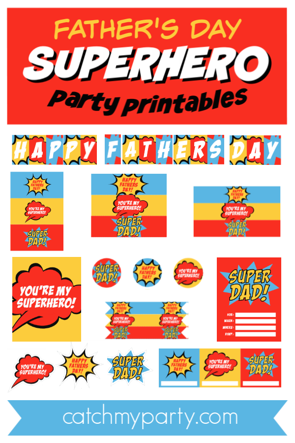 Father's Day Superhero Party Printables Collage