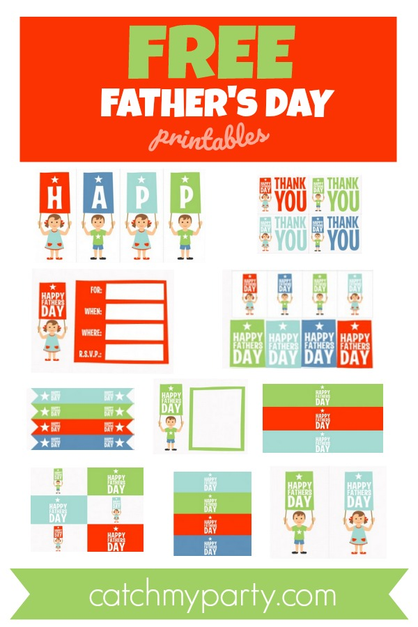 Collage of the FREE Father's Day printables