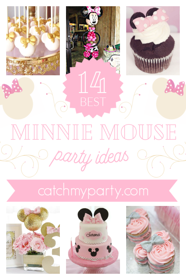 Collage of Minnie Mouse party ideas from CatchMyParty.com