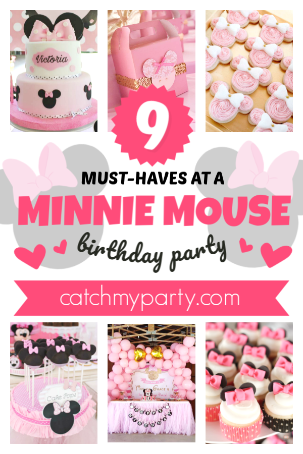Collage of the 9 things you must-have at your Minnie Mouse party!