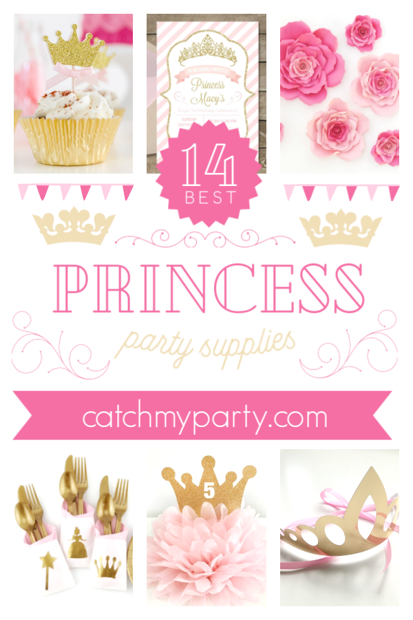 Collage of the most gorgeous pink princess party supplies | CatchMyParty.com