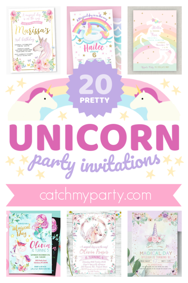 Collage of the 20 prettiest unicorn party invitations