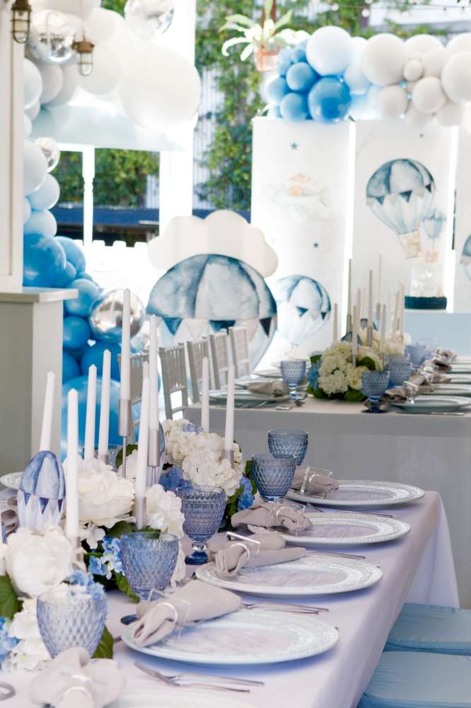Unbelievable table settings and balloon decorations at a fun hot air balloon party