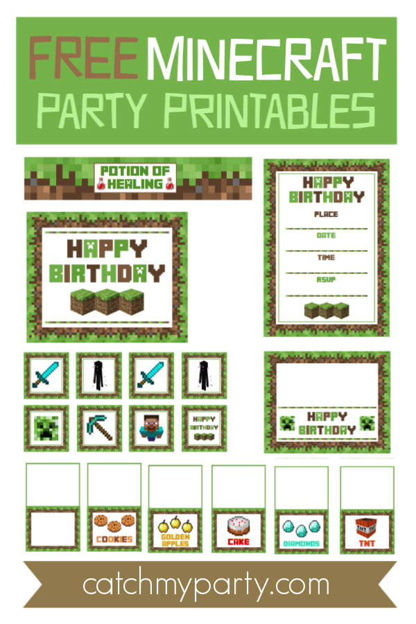 Download These Awesome Free Minecraft Party Printables Catch My Party