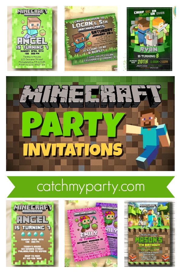 Collage with the best Minecraft party invitations