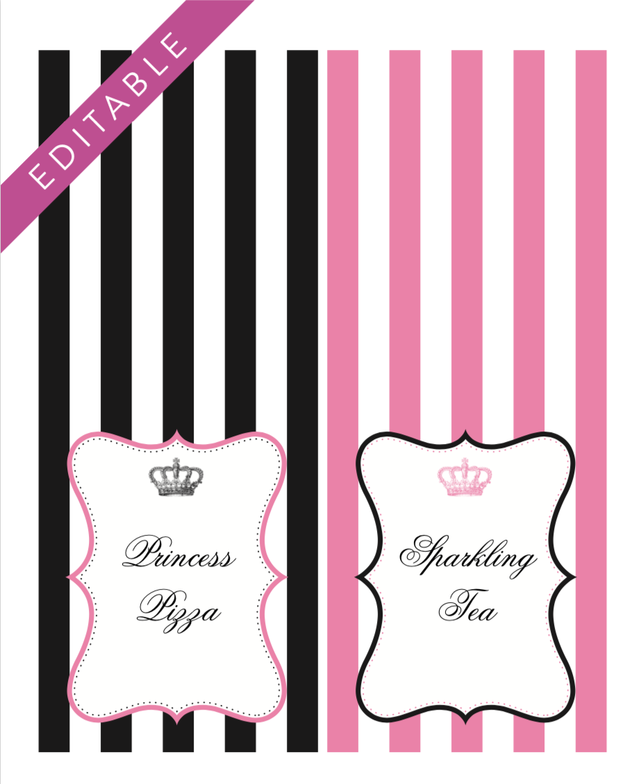Free Editable Princess Party Printables - Gorgeous Princess Food Labels