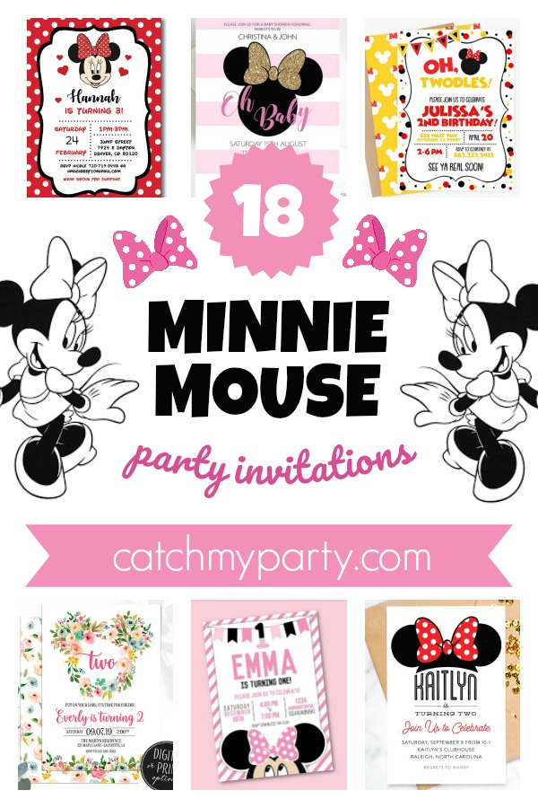 Collage of the 18 Most Gorgeous Minnie Mouse Party Invitations!