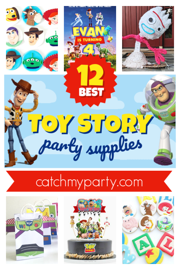 A collage of the 12 best Toy Story party supplies
