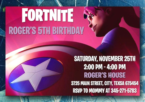 Fortnite Avengers Birthday Party Invitation