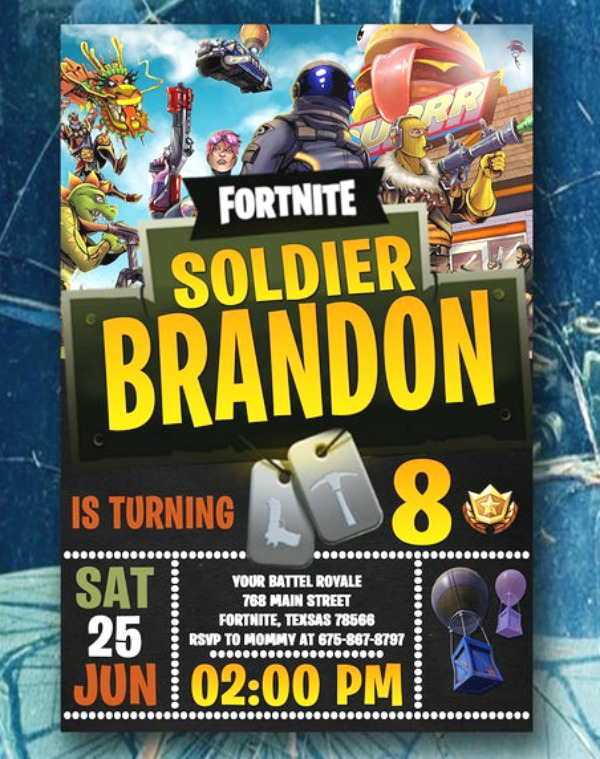 Fortnite Soldier Party Invitation