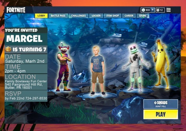Fortnite Lobby Birthday Party Invitation