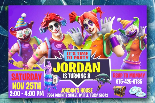 Fortnite Clown Party Invitation