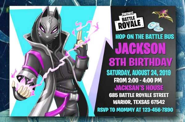 Fortnite Catalyst Birthday Party Invitation