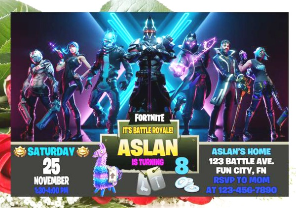 Fortnite Season X Birthday Party Invitation