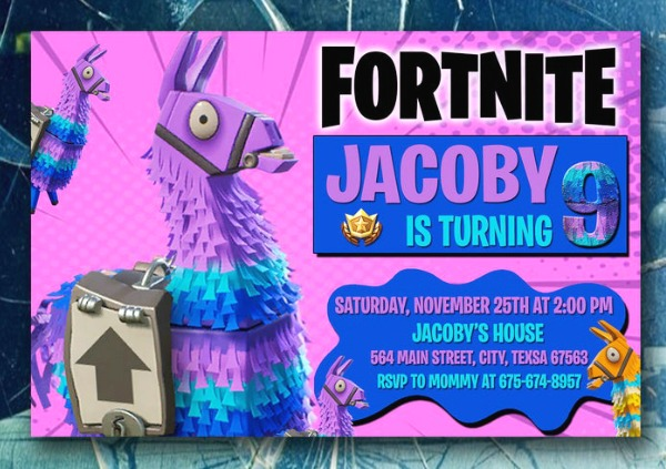 Fortnite Loot Llama Birthday Party Invitation