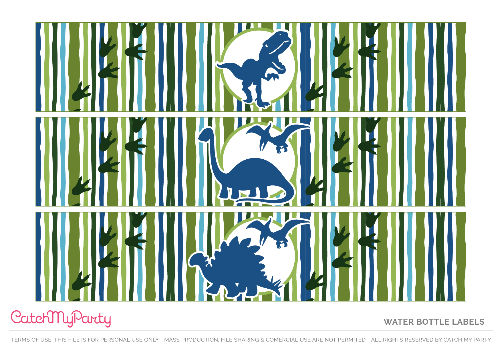 Download These Free Dinosaur Party Printables - Water Bottle Labels