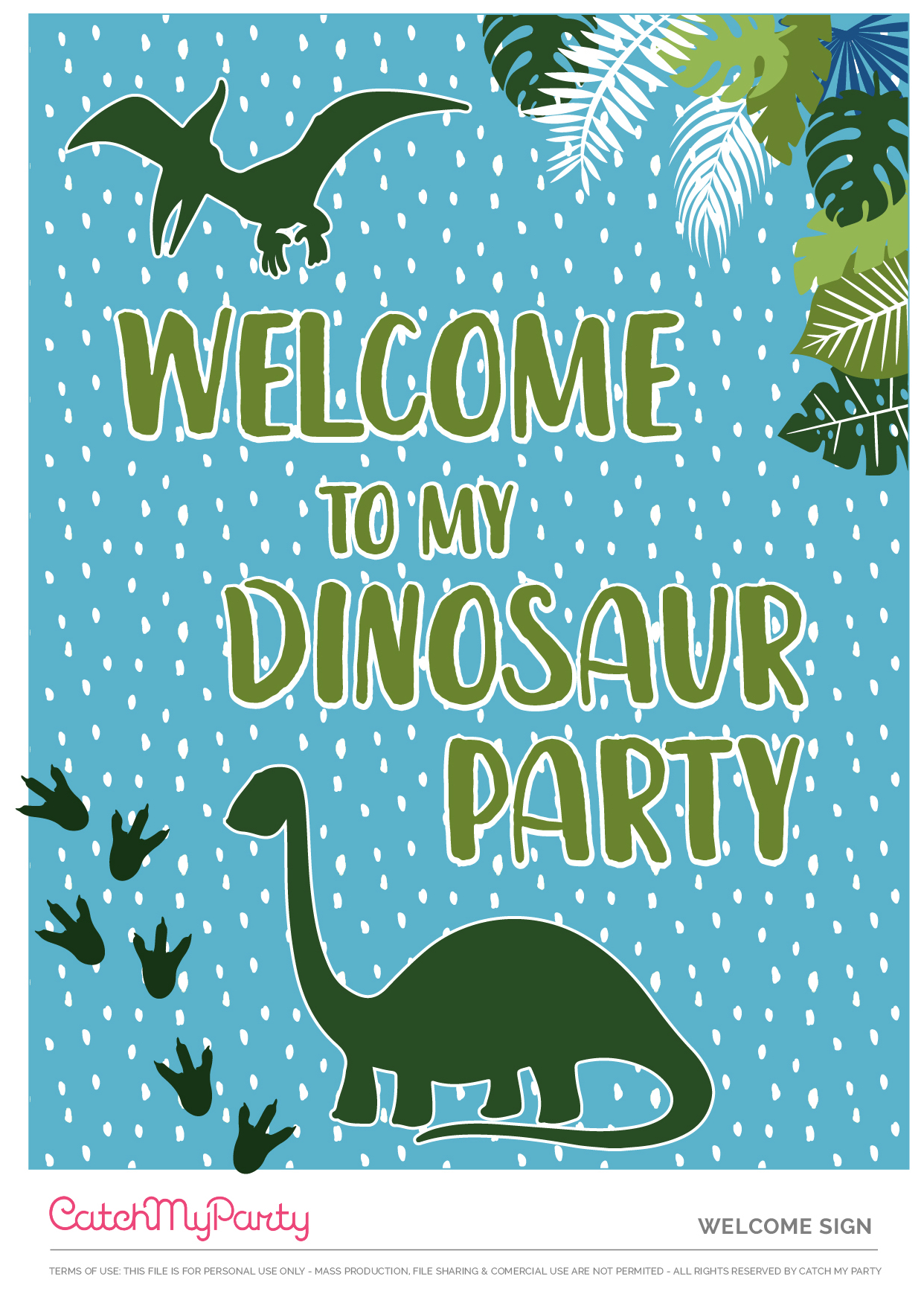 Download These Free Dinosaur Party Printables, Now - Welcome Poster