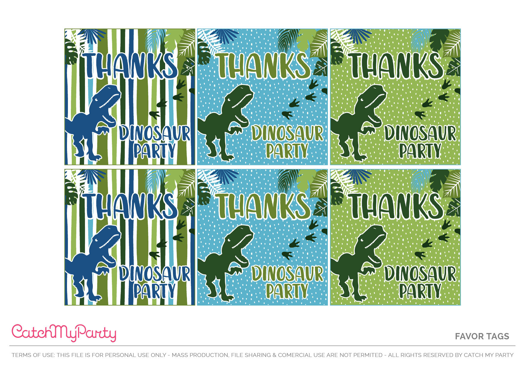 Download These Free Dinosaur Party Printables - Party Favor Tags