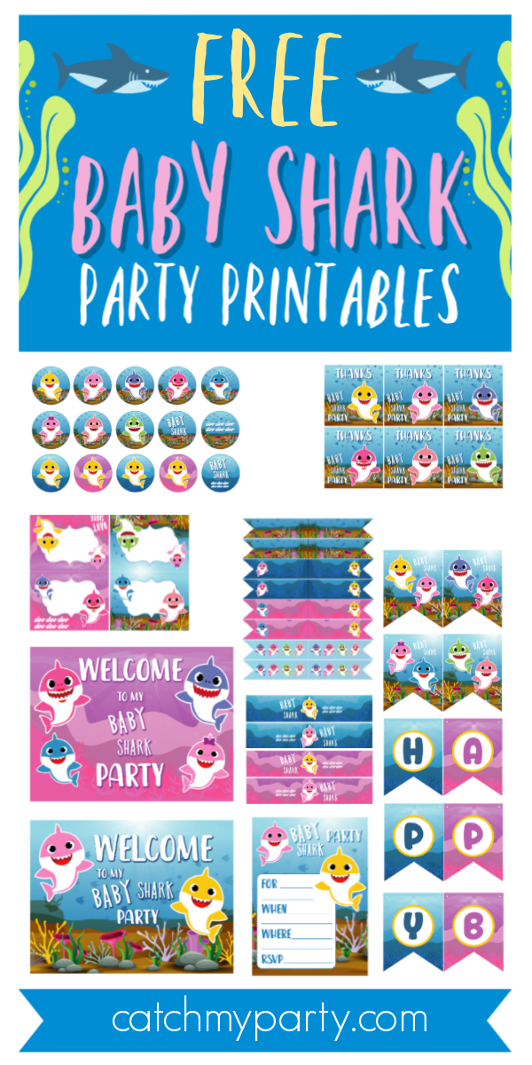 Collage of Baby Shark Party Printables