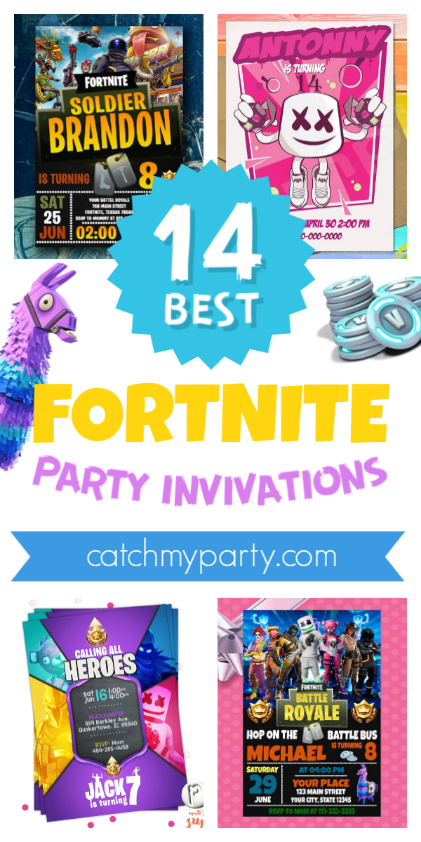 Collage of the Coolest 14 Fortnite Party Invitations!