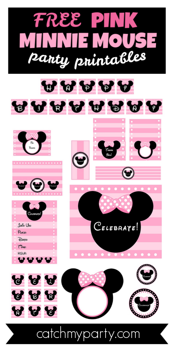 Download These Free Pink Minnie Mouse Party Printables!!