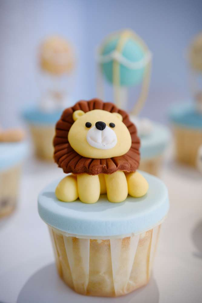 Lion Cupcake at Animals in a Hot Air Balloon birthday party