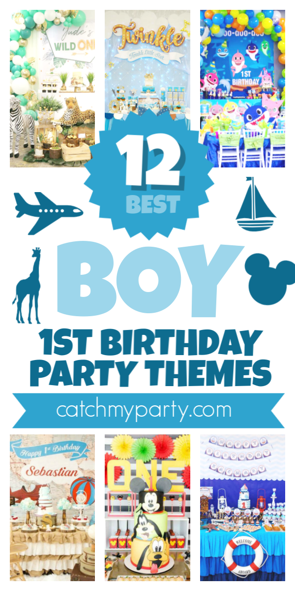 Collage of the 12 Most Popular Boy 1st Birthday Party Themes!