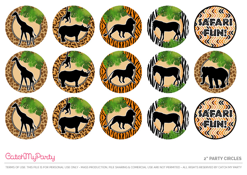"Download These Free Jungle Safari Printables Now - 2"" Party Circles"