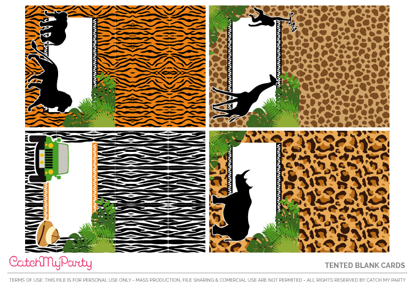 Download These Free Jungle Safari Printables Now - Blank Tented Cards