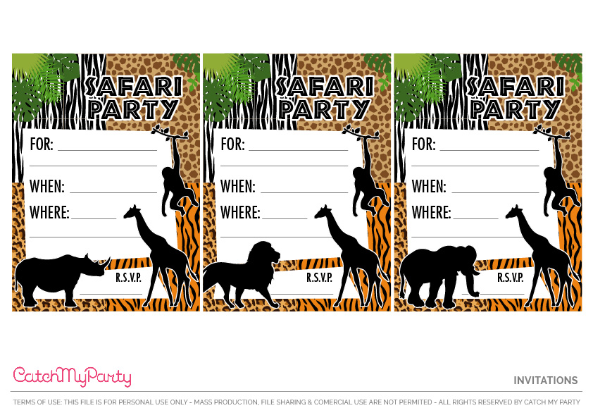 Download These Free Jungle Safari Printables Now - party invitations