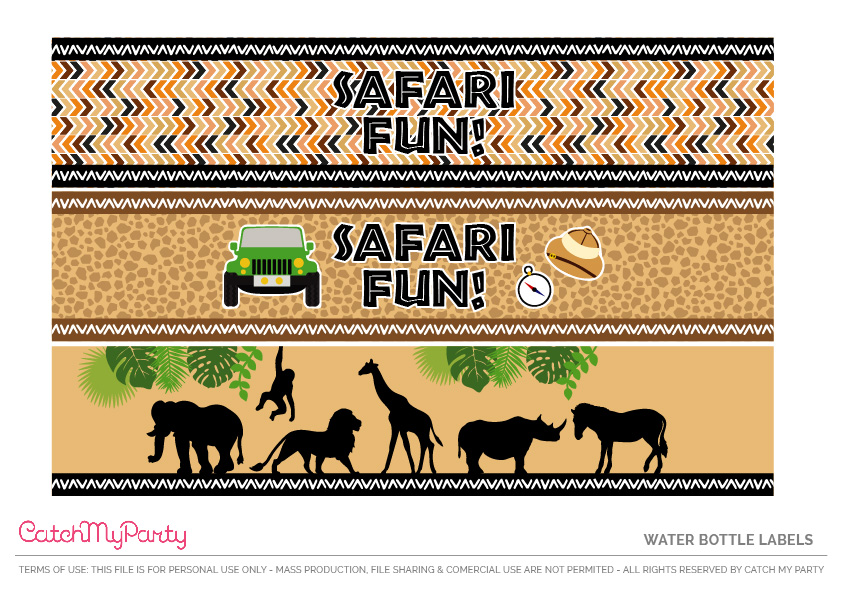 Download These Free Jungle Safari Printables Now - Water Bottle Labels
