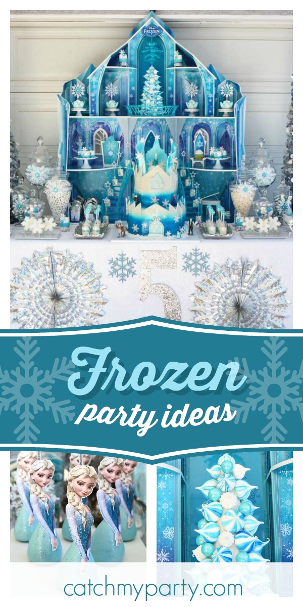 Collage of a Frozen Castle Birthday Party