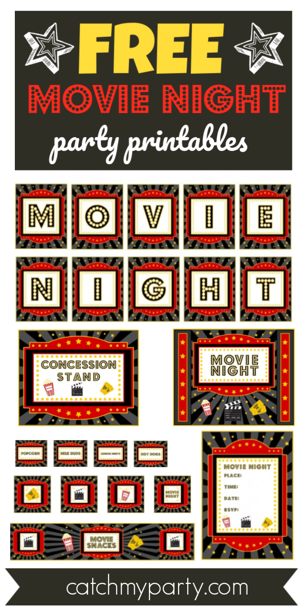 Collage of FREE Movie Night Printables