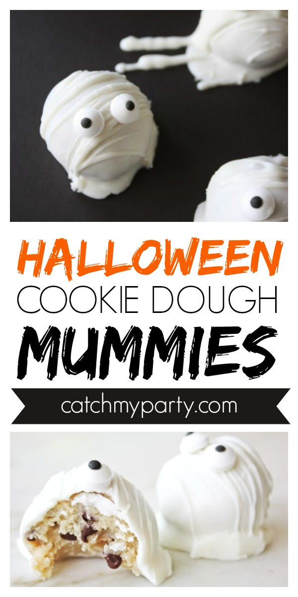 Collage of Easy Halloween Cookie Dough Mummies!