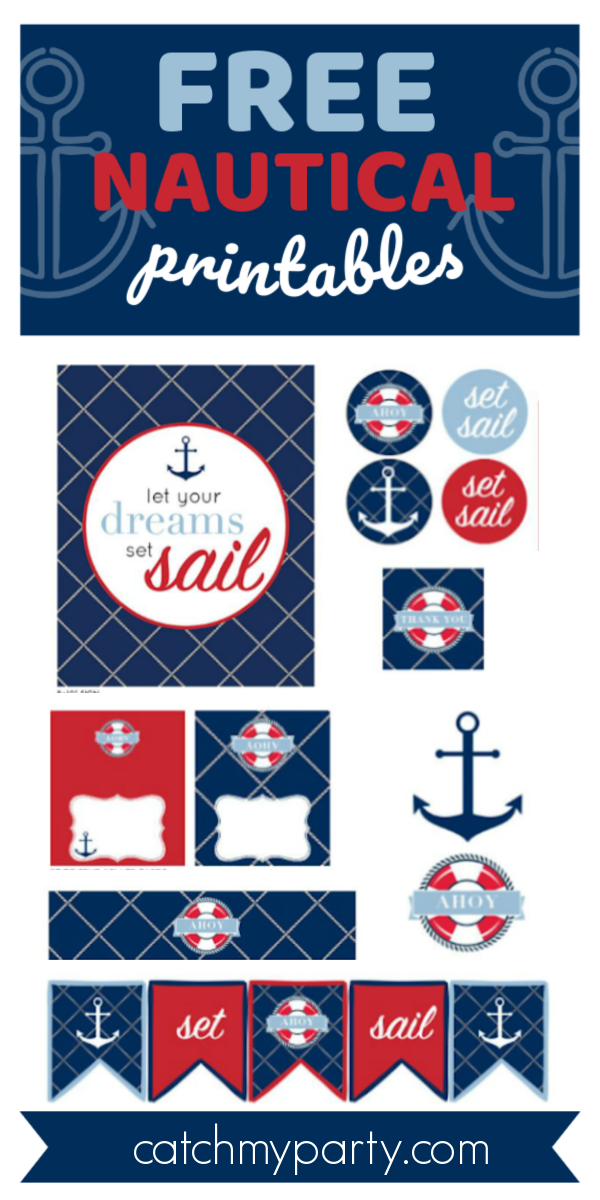 Download these Free Nautical Birthday and Baby Shower Printables!