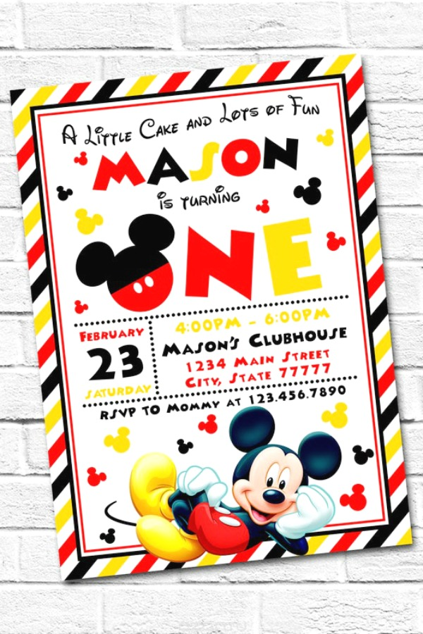 Mickey Mouse 1st Birthday Party Invitation