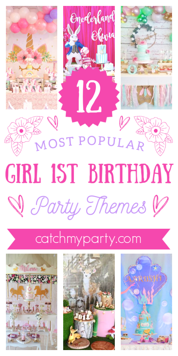 Collage of the 12 most popular girl 1st birthday party themes