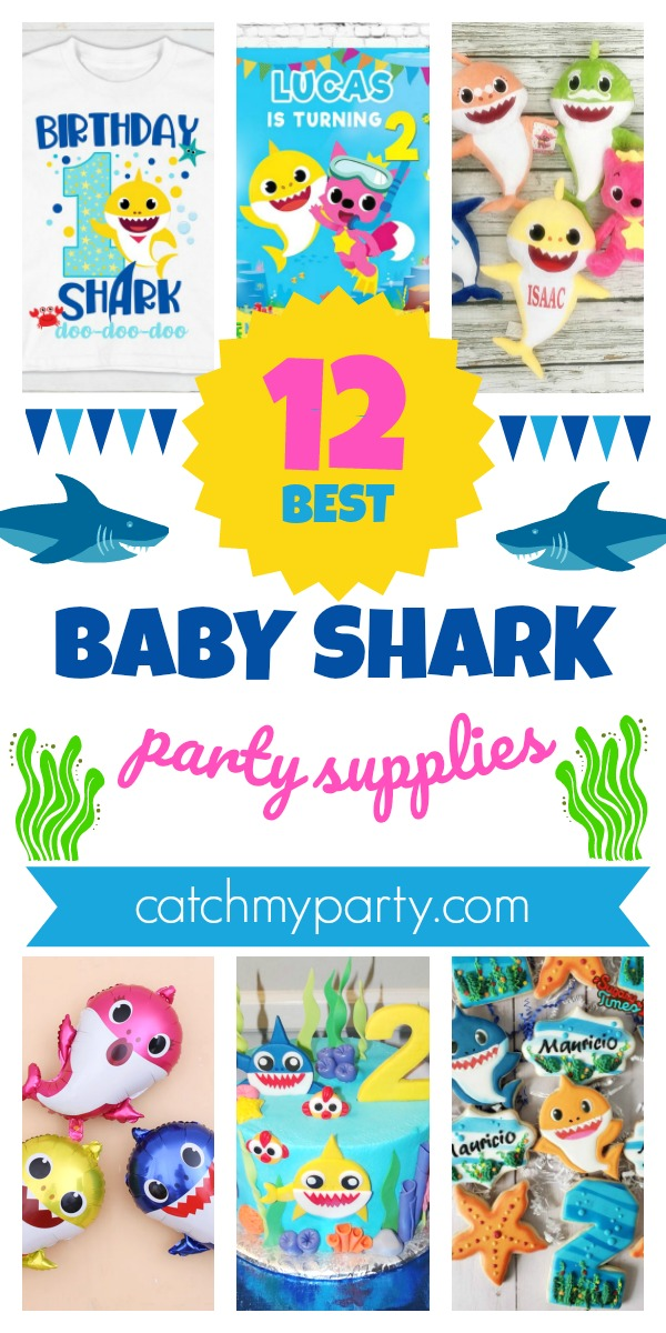 Collage of the 12 best Baby Shark party supplies