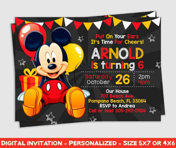 Mickey Mouse Chalkboard Party Invitation