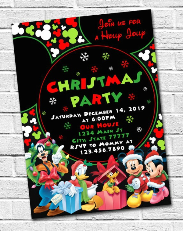 Mickey Mouse Christmas Party Invitation