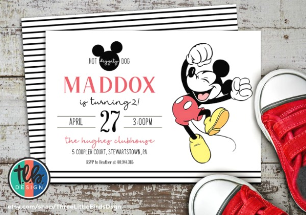 Classic Mckey Mouse Party Invitation