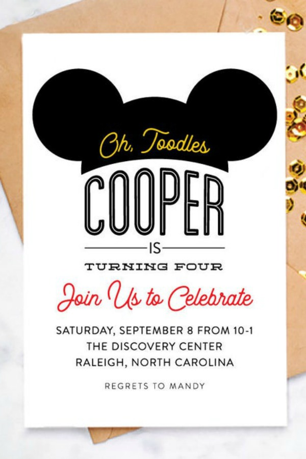 Mickey Mouse Ears Party Invitation