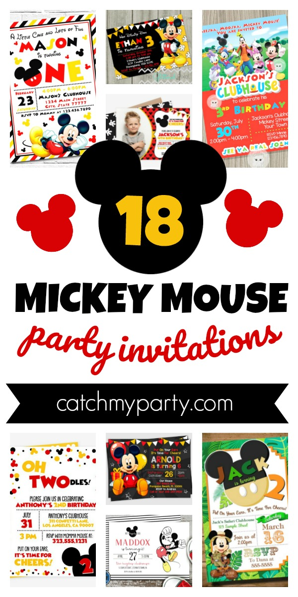 Collage of 18 fun Mickey Mouse Party Invitations