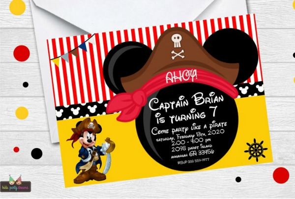 Pirate Mickey Mouse Party Invitation