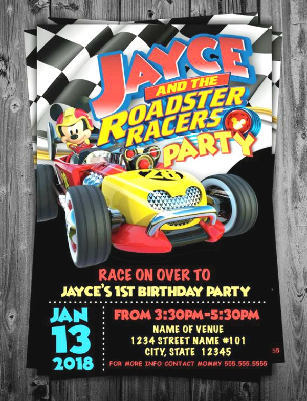 Minnie Mouse Roadster Racers Birthday Party Invitation