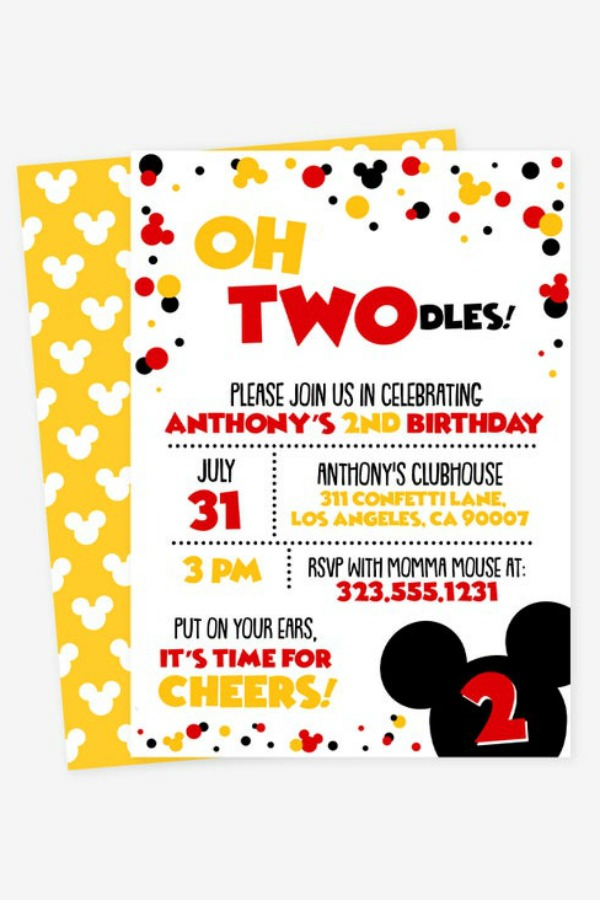 Mickey Mouse Twodles Party Invitation
