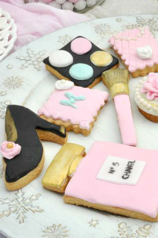Mix of Chanel and makeup sugar-coated cookies