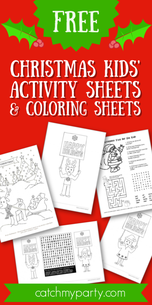 Download these FREE Christmas Kids' Activity & Coloring Sheets