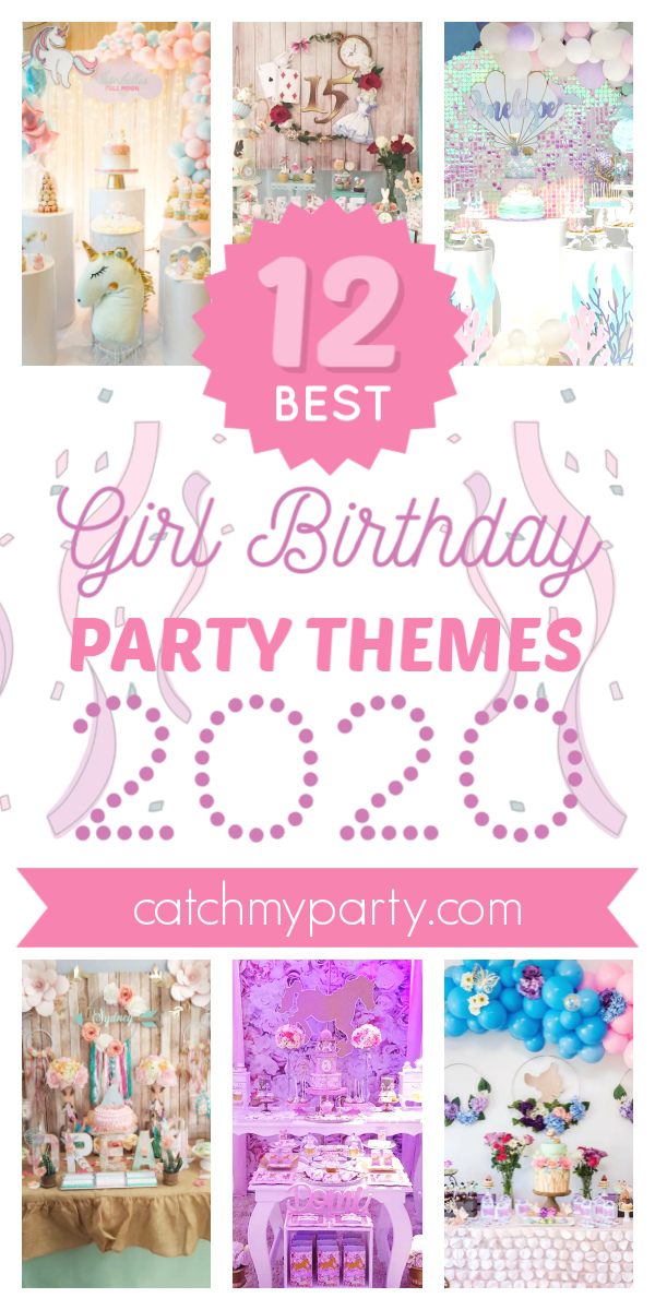 Collage of the most Most Popular Girl Birthday Party Themes for 2020